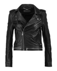 Giacca da moto in pelle nera di Calvin Klein