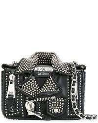 Giacca da moto in pelle nera di Moschino