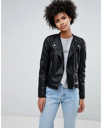 Giacca da moto in pelle nera di Vero Moda