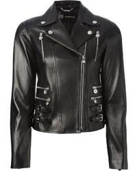Giacca da moto in pelle nera di Versace