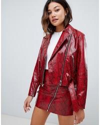 super popular a8a6d 996d2 Giacche da moto in pelle rosse da donna | Moda donna | Lookastic