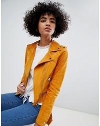 Giacca da moto in pelle scamosciata arancione
