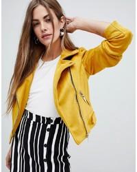 Giacca da moto in pelle scamosciata gialla di New Look
