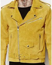 promo code 93cff fe3ef Reclaimed Giacca pelle gialla in di scamosciata moto Vintage ...