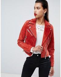 free shipping f2eaa a7fc0 Giacche in pelle scamosciata rosse da donna | Moda donna ...