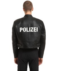 Giacca da moto in pelle stampata nera