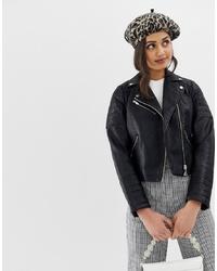 Giacca da moto in pelle trapuntata nera di Miss Selfridge