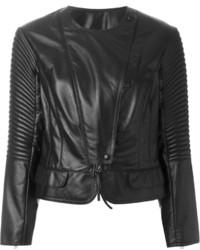 Giacca da moto in pelle trapuntata nera di Nina Ricci
