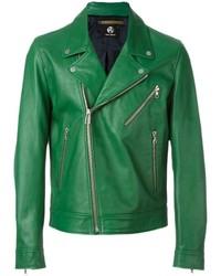 Giacca da moto in pelle verde