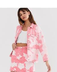 Giacca di jeans effetto tie-dye rosa di Monki