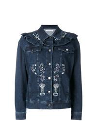 Giacca di jeans ricamata blu scuro di Vivetta
