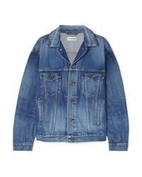 Giacca di jeans stampata blu di Balenciaga