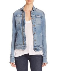 Giacca di jeans strappata azzurra