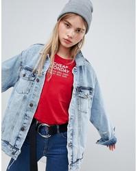 Giacca di jeans strappata azzurra di Cheap Monday