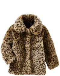 Giacca di pelliccia leopardata marrone