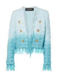 Giacca di tweed azzurra di Balmain