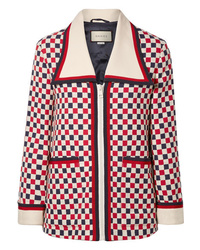 Giacca di tweed bianca e rossa e blu scuro di Gucci