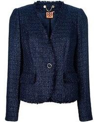 Giacca di tweed blu scuro di Tory Burch