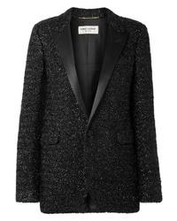 Giacca di tweed nera di Saint Laurent