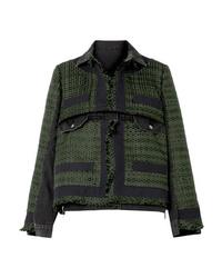 Giacca di tweed verde scuro di Sacai