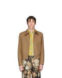 Giacca harrington di lana a righe verticali marrone chiaro di Dries Van Noten