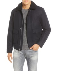 Giacca harrington di lana blu scuro