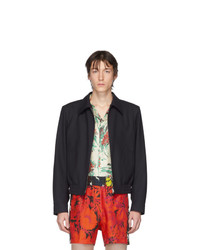 Giacca harrington di lana blu scuro di Dries Van Noten