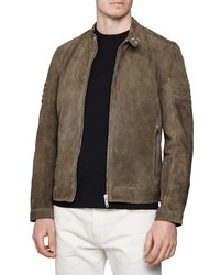 Giacca harrington in pelle scamosciata marrone scuro