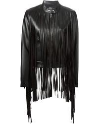 Giacca in pelle con frange nera di DKNY