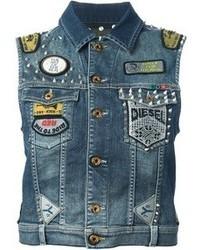 Gilet di jeans blu scuro di Diesel