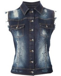 Gilet di jeans blu scuro di Philipp Plein