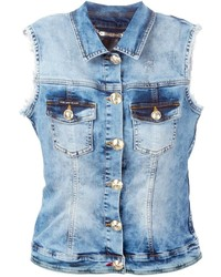 Gilet di jeans blu di Philipp Plein