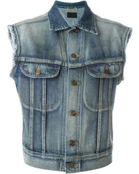Gilet di jeans blu di Saint Laurent