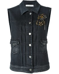 Gilet di jeans decorato grigio scuro di Golden Goose Deluxe Brand