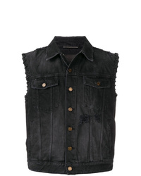 Gilet di jeans nero