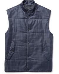Gilet di lana a quadri blu scuro