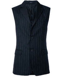 Gilet di lana a righe verticali nero di Alexander McQueen