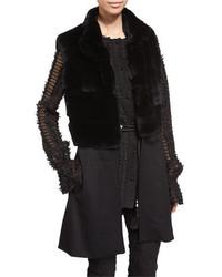 Gilet di pelliccia lavorato a maglia nero
