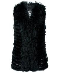Gilet di pelliccia nero di Twin-Set