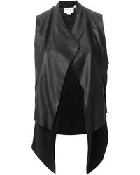 Gilet in pelle nero di DKNY