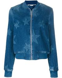 Giubbotto bomber di jeans con stelle blu di Stella McCartney