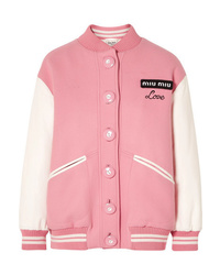 Giubbotto bomber di lana rosa di Miu Miu