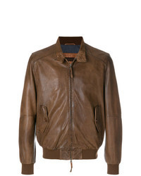 Giubbotto bomber in pelle marrone