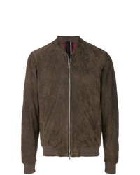 Giubbotto bomber in pelle marrone di Low Brand
