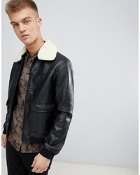 Giubbotto bomber in pelle nero di Another Influence