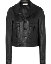 Giubbotto bomber in pelle nero di Saint Laurent