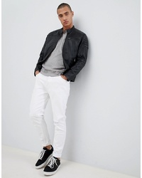 Giubbotto bomber in pelle nero di Selected Homme