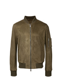Giubbotto bomber in pelle scamosciata marrone di Desa Collection