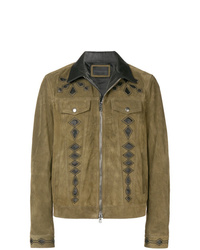 Giubbotto bomber in pelle scamosciata marrone di Diesel Black Gold