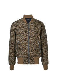 Giubbotto bomber leopardato marrone